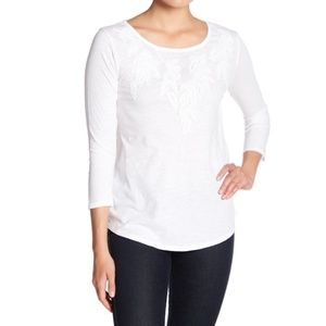 Lucky Brand Embroidered 3/4 Length Sleeve Top